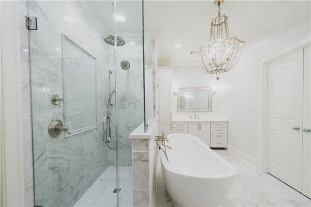 walk-in glass shower, marble shower design, bathroom contractor